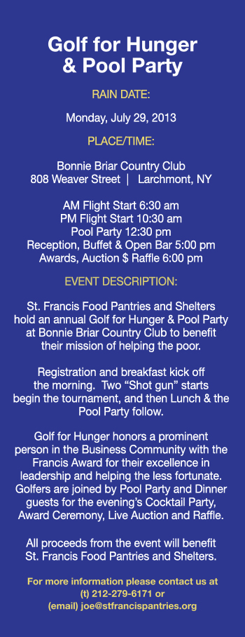 Fundraising - Golf for Hunger & Pool Party 2013